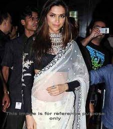 Buy White embroidered net saree with blouse deepika-padukone-saree online