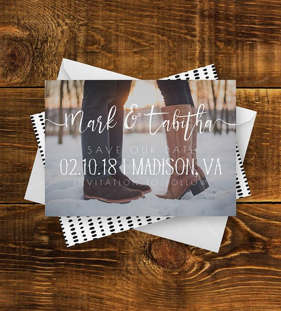 Moderne rustique Save the Date | Police d'écriture, moderne, carte Photo, imprimer enregistrer la Date, Minimal, mariage, fiançailles