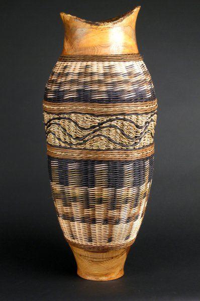 "Illusion II: 36"" tall by 14"" diameter, $1,400.00 #handwoven #wovenbasket"