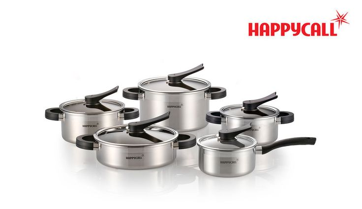 Happycall 3-Ply Stainless Steel Polished Pots Kitchen Cookware Set 10Piece New #Happycall