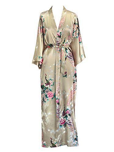 Old Shanghai Women's Kimono Long Robe - Peacock & Blossoms