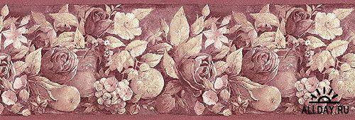 Бесшовные цветочные бордюры и текстуры