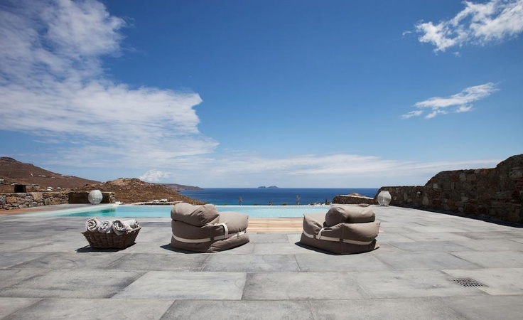 Check out how gorgeous and minimal this pool is in a very cool Mykonos villa !!!