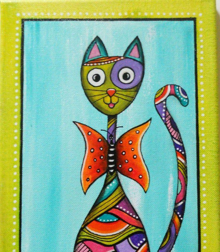 """Peinture unique et originale du chat """"Papillon"""" : Décorations murales par sylphide"""