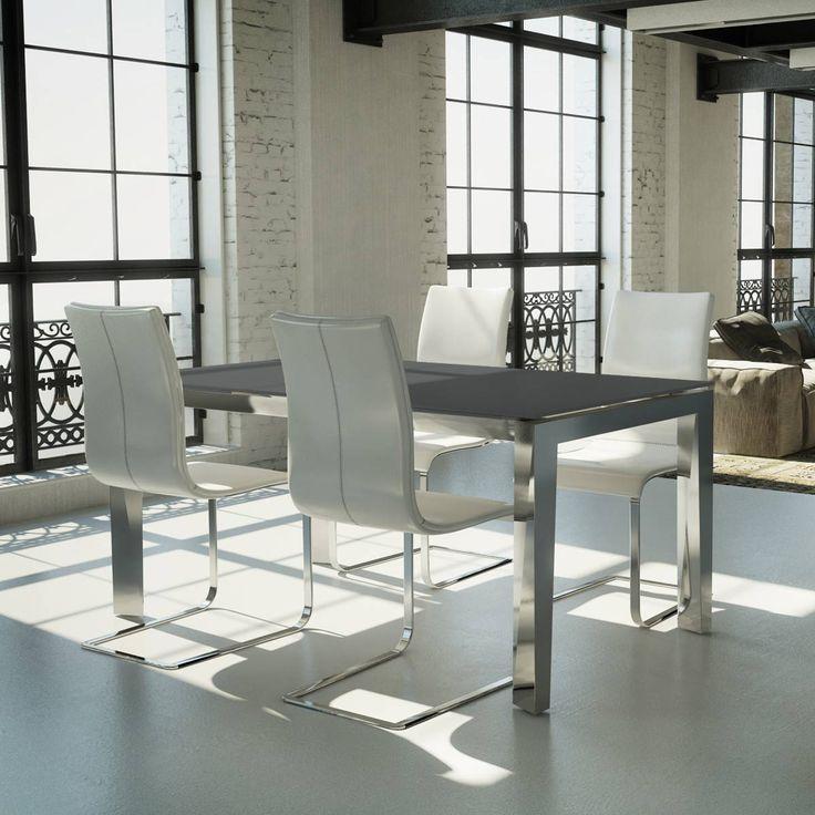 #tavolo allungabile Clooney, struttura in metallo e top rettangolare in vetro temperato. Elegante e #moderno. Scoprilo su http://www.chairsoutlet.com/ita/articolo/tavoli/tavoli-in-metallo/tavolo-allungabile-clooney-chairsoutlet-com/15/52/466.php