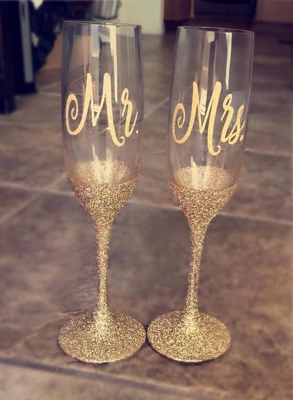 Wedding Champagne Flutes Mr Mrs Flutes Glitter Glasses
