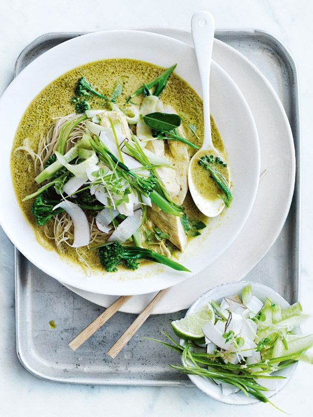 chicken and broccolini curry with cucumber and coconut salad