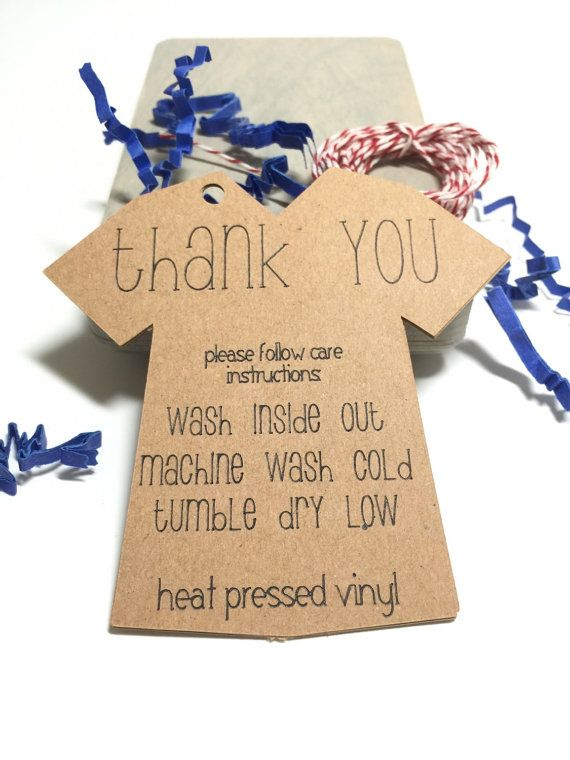 Wash care instruction tags set of 12 heat by littlebluecraft