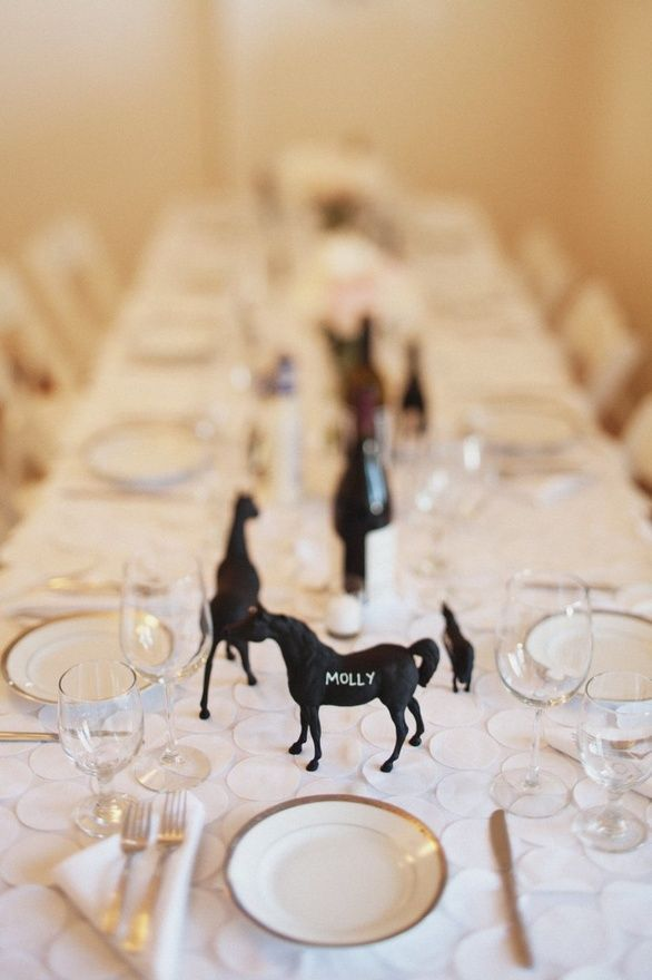 chalkboard paint toy horse place cards - my daughter loves horses - what a great idea for a kids party {favor + place card in one} @Jennifer Fontenot @Pat-Don Reinert look at the horses name