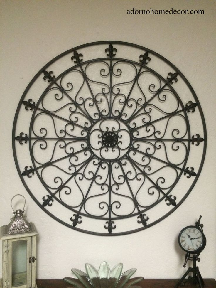 details about large round wrought iron wall decor rustic scroll fleur de lis antique vintage - Large Metal Wall Decor