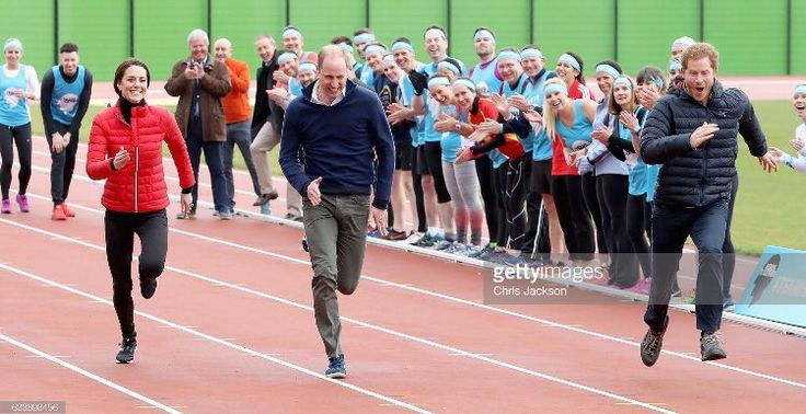 Chris Jackson (@ChrisJack_Getty) on Twitter: HeadsTogether Marathon Training, Queen Elizabeth Olympic Park, East London, February 5, 2017-It's Prince Harry for the lead over the Duke and Duchess of Cambridge during a training event