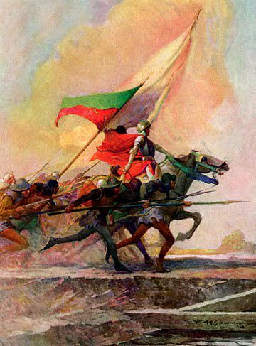 Joan of Arc leading the charge painting by Frank E Schoonover   used in the historical novel The Warrior Maid