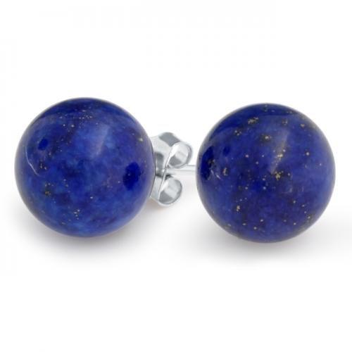 Sterling Silver Lapis Gemstone Unisex Ball Stud Earrings-6mm 8mm 10mm