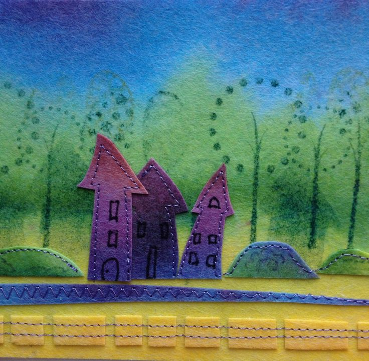 House collage. Cute, quirky houses on hand painted pelmet vilene. Stamped background and machine stitching. CS
