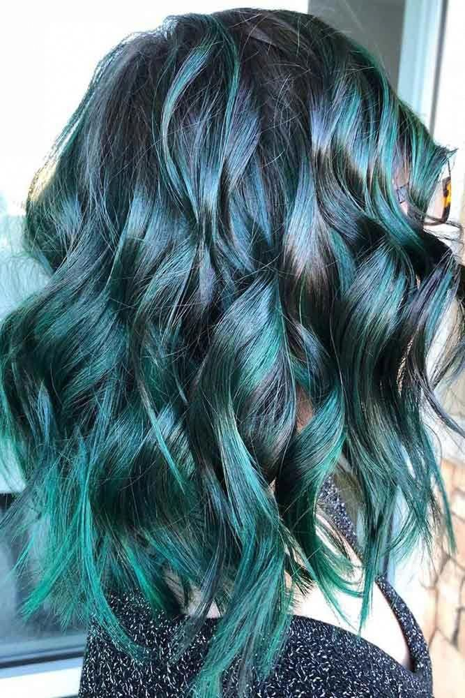 Teal With Raven Black Tealhair Brunette Highlights