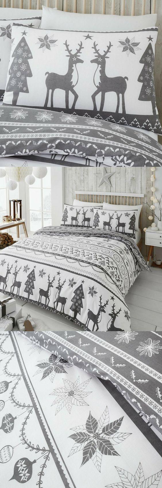 Happy Linen Co Festive Scandi Nordic Christmas Grey Double Duvet Cover Set #linen #christmas #christmasdecor #xmas #bedding #xmashomedcoraccents #bedroomideas #bedroom #bed #bedroomdecor #bedroomdesign #bedroomfurniture #winter #winterdecor #decor