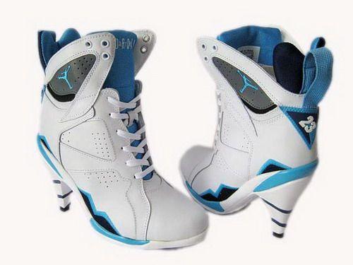 Goedkope Vrouwen Nike Air Jordan 7 High Heels Wit Blauw UK Online Clearance