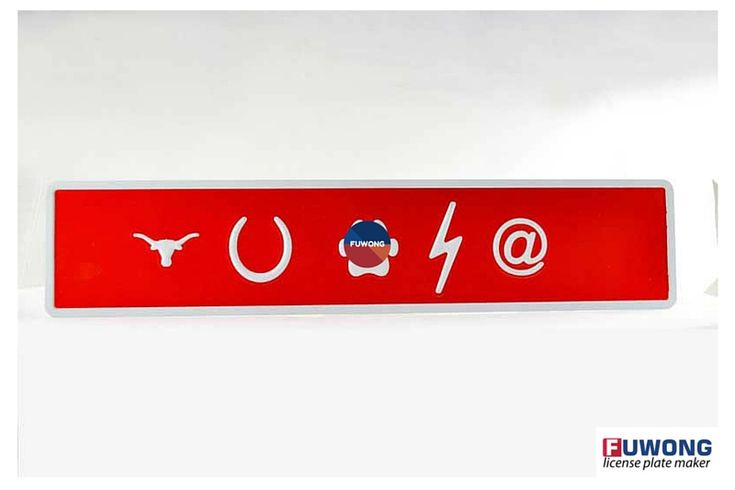Symbols on  red license plate