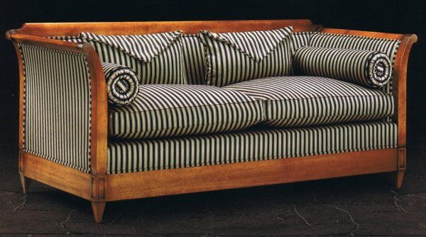 Verona bespoke sofa is shown in Awning Stripe Black / Camel fabric with envelope cushions and bolsters to match.