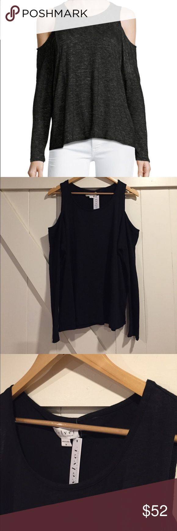 Velvet By Graham & Spencer Cold Shoulder Top-Black Velvet By Graham & Spencer Cold Shoulder Top-Black. NEW with tags! Round neckline, Cold shoulders, Long sleeves, Relaxed fit, Pullover style. Velvet by Graham & Spencer Tops Tees - Long Sleeve