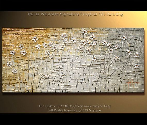 "48"" x 24"" Original  Modern Palette Knife Textured Oil Painting Heavy Palette Knife White  Daisies  art by P. Nizamas"