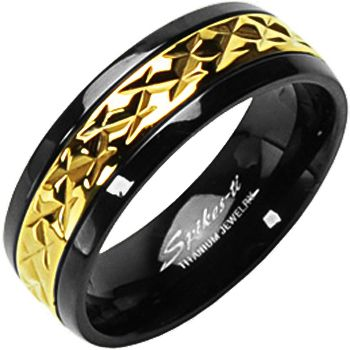 SPIKES Titanium Black and Gold MEN'S Ring | Body Candy Body Jewelry