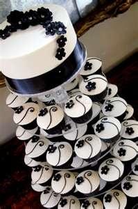 Black and Ivory Wedding Cupcake Tower « The Cupcake Blog