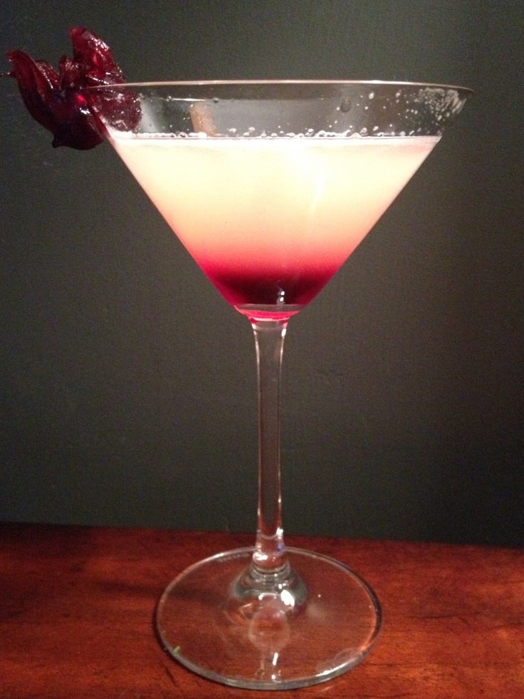 Hibiscus Martini ~ MY VERY FAVORITE EVER!!! 2 shots pear vodka (we use Grey Goose), 1/2 shot St. Germain, 1/2 shot agave nectar, 1/2 shot lemon juice, 1shot grapefruit juice.  Shaken with ice & strained into martini glass then garnish with hibiscus flower!!