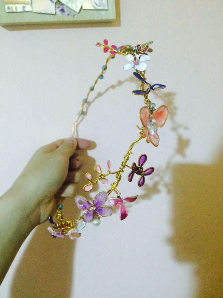 Nail polish flower hair band