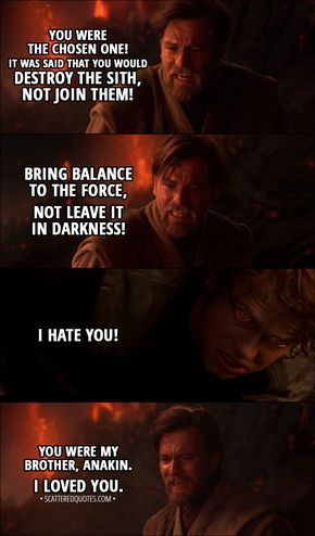 40 Best Star Wars Revenge Of The Sith Quotes 2005 Star Wars