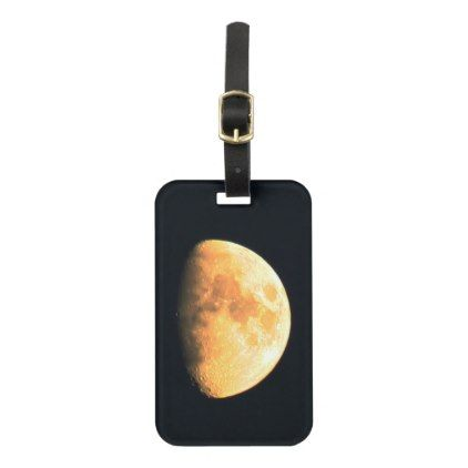 Big Old Moon Luggage Tag with Business Card Slot - black gifts unique cool diy customize personalize
