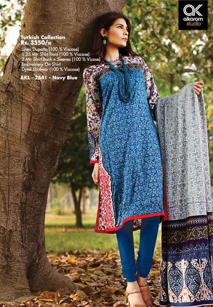 AKL 2541 - Navy Blue Rs. 3550/- Linen Dupatta (100 % Viscose) 1.25 Mtr Shirt front (100 % Viscose) 2 Mtr Shirt Back + Sleeves (100 % Viscose) Embroidery On Shirt Dyed Shalwar (100 % Viscose)  www.alkaramstudio.com