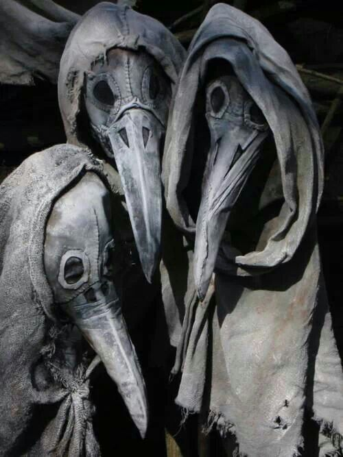 Plague doctors would put spices inside the beak area of the hood to keep from catching the black death.