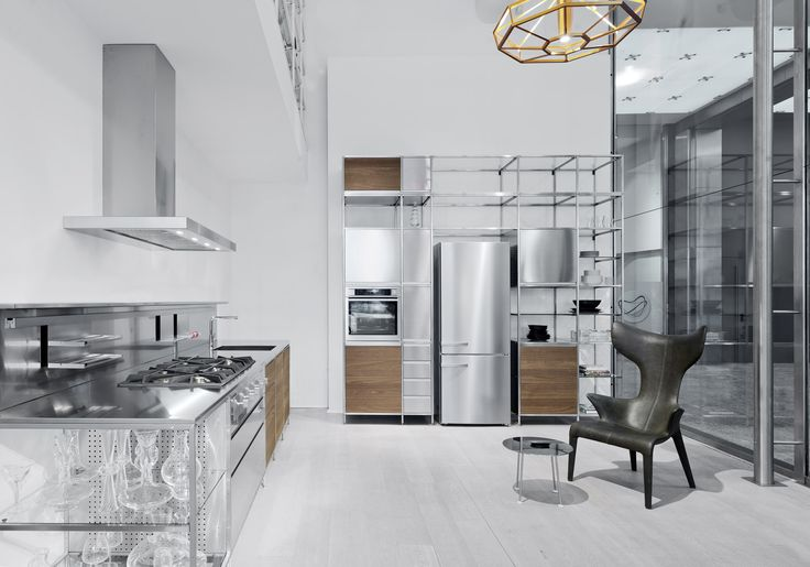 Meccanica Valcucine #flagship store #milan #showroom #kitchens #cabinets #steel