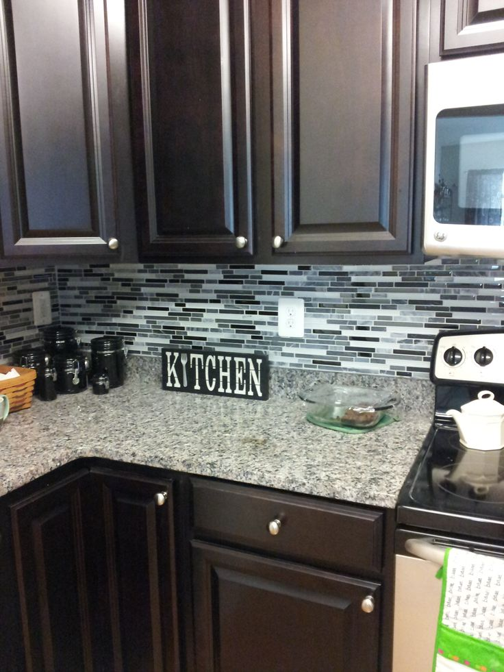 Love The Dark Cabinets And Backsplash And The Countertops!