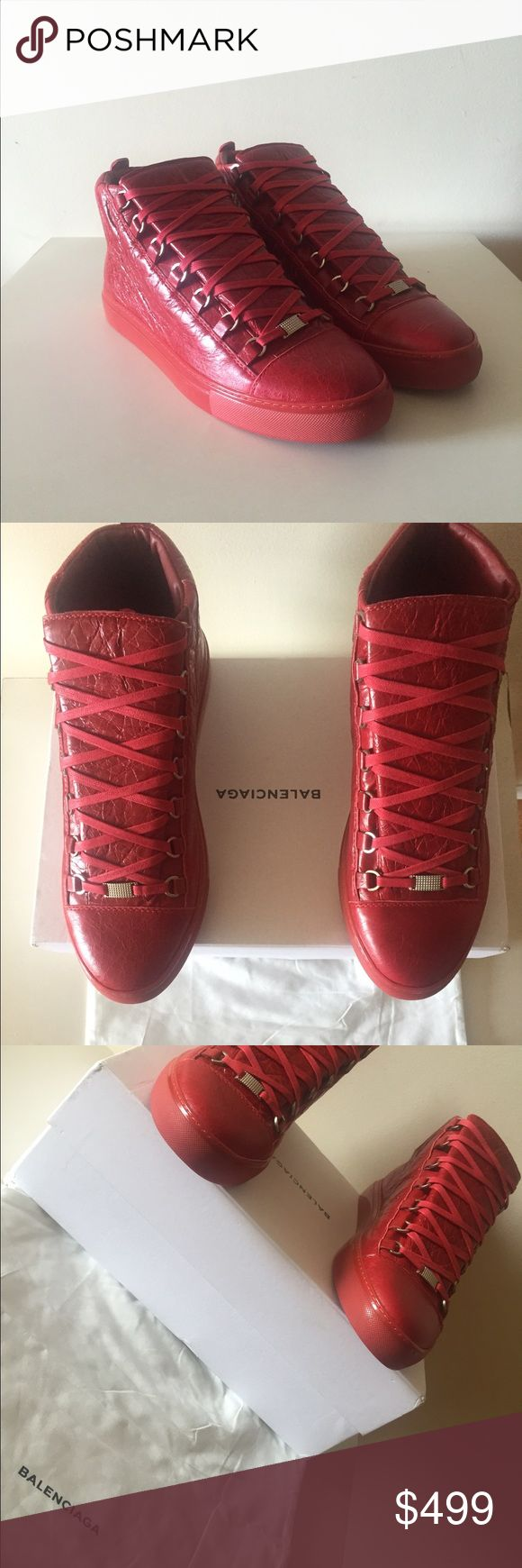 Balenciaga Arena Sneakers Red EU 44 Authentic Balenciaga Arena Sneakers Red EU 44 100% Authentic Guaranteed. Comes complete with boxing and dustbag.  If you like this, you'll definitely love my other listings. check em out ^_^ Balenciaga Shoes Sneakers