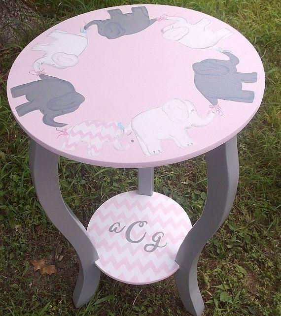 Elephants Pink gray CHEVRONS Custom Round Night by spoiltrottn, $119.00