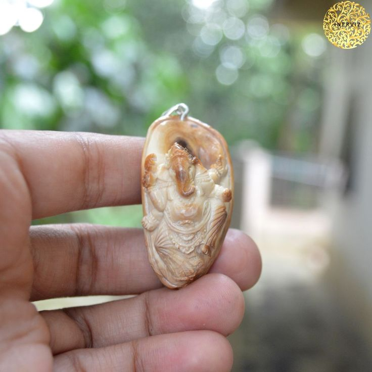 """2.1"""" Hand Carved Ganesh Natural Fossil Carving w 925 silver Pendant FM 2480"""