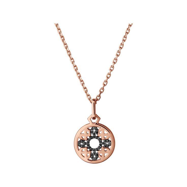 Timeless 18kt Rose Gold Vermeil & Black Sapphire Pendant Necklace,
