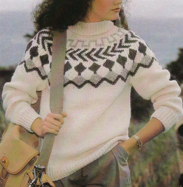 Vintage Knitting Pattern Instructions to Make a Ladies Fair Isle Aran Jumper by LucysPatternBox on Etsy