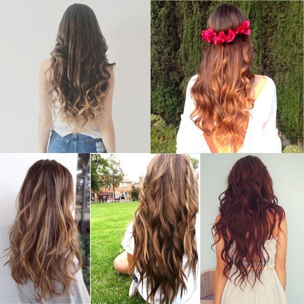 la cascata dei capelli lunghi ondulati con le extension a clip