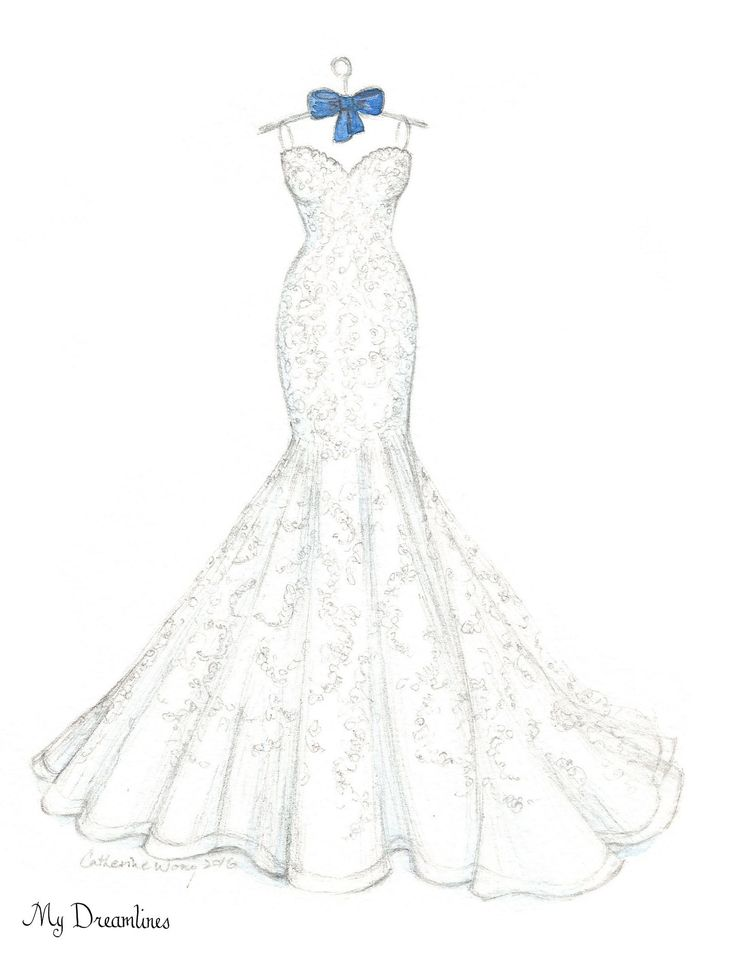 Where is her dress now? - Stored away in a box? - Hanging in the closet? - Donated? That is why a personal sketch of her dress is perfect...It is the most important dress she will ever wear. Did you k
