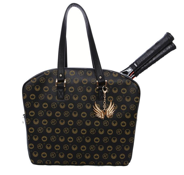 """Slam Glam - Cortiglia Bette Noir Royal Marion Bartoli Tennis Tote Bag, $285.00 (http://www.slamglam.com/cortiglia-bette-noir-royal-marion-bartoli-tennis-tote-bag/)  A logo of Marion's """"M,"""" wings and crowns adorn the bag in the shape of a wing.  Gorgeous!!! #cortiglia #tennisbags #luxurytennisbags"""
