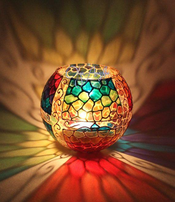 Rainbow mosaic. Decorative Vase, Candle holder painted. Personalized gift.