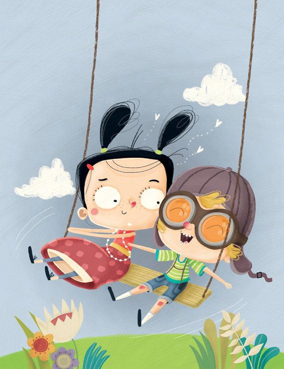 illustration for children, art print, original wall deco for nursery room, digital - Kids playing on the swing on Etsy, 20,00 €: