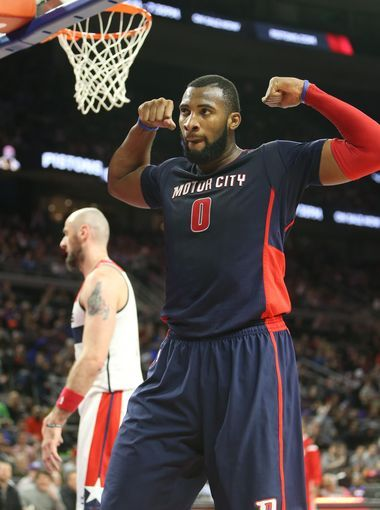 Detroit Pistons Andre Drummond reacts after scoring