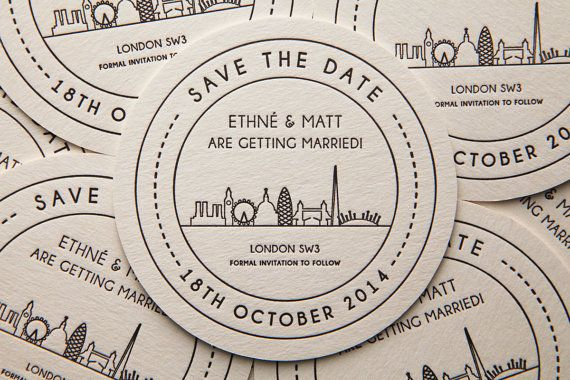 ANOTHER GREAT #savethedate IDEA FOR YOUR #WEDDING! Spotted on pinterest by the Huntsham Court Country House Hire Event's team - www.huntshamcourt.co.uk:   Save the Date Beer Mat by emmaleecheng on Etsy