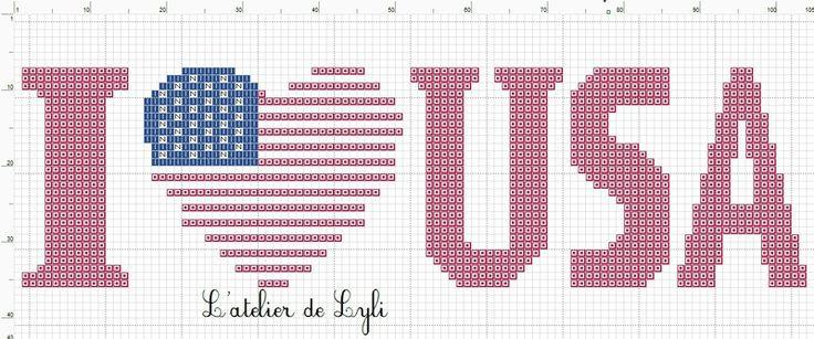 I <3 USA Cross Stitch Pattern free