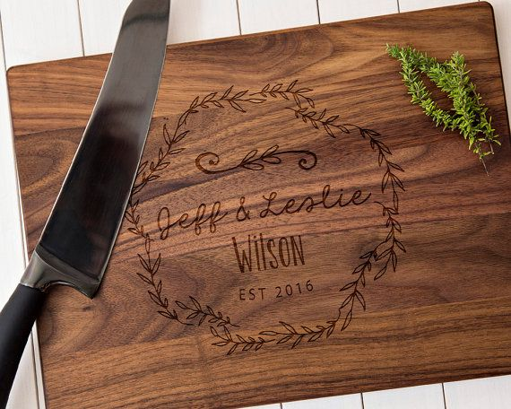 Unique wedding gift or house warming gift personalized cutting board for couples or families