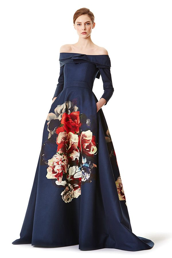 carolina herrera prefall 2015 dresses three quarter sleeves with pockets flora prints blue ball gown